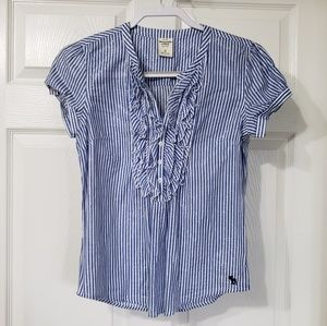 ABERCROMBIE AND FITCH | blue & white stripped top
